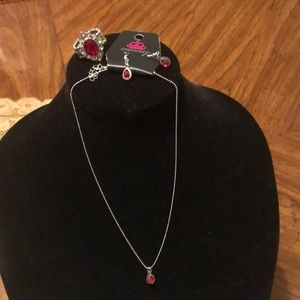 Necklace and earring set with matching ring